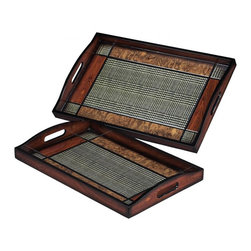 Sterling Industries - Set Of 2 Checked Trays - Set Of 2 Checked Trays