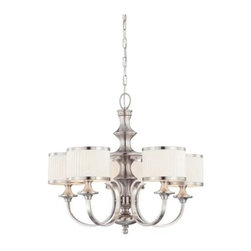 Nuvo - 5 Light - Chandelier - Pleated White Shades - Flat Pleated White Shades Shade. UL Dry Rated. Incandescent . Color/Finish: Brushed Nickel. Max wattage: 60w. Bulb(s) not included. 28 in. W x 24.5 in. H