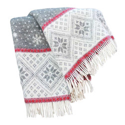 "Happy Blanket - 100% New Zealand Wool Throw Blanket Snow Flakes 51"" X 67"", Red - The Snowflake blanket is a perfect addition to your holiday decor or an extra warmth on your bed. Great present for the young and older."