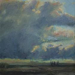 """Rainy Creek Thunderstorm"" Artwork - Impressionist skycape of thunderclouds above the prairies."