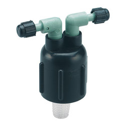 """Orbit - Orbit Two Port Water Drip Manifold for 1/4"""" Dripper Tubing - 2 ports - 67030 - With 2 1/4-inch barbed ports, this drip system manifold comes with a filter basket for clean and efficient performance. This drip irrigation manifold easily connects to a 1/2-inch male-threaded sprinkler riser to convert a shrub sprinkler head to a dripper irrigation system. With full flow capacity, this drip manifold is a must-have for do-it-yourself drip system irrigation projects. Durably constructed of high quality materials, this drip irrigation manifold will last for many years of dependable drip watering use.Features and Benefits"""