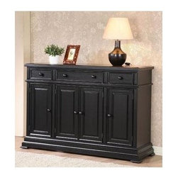 Winners Only - Quails Run Sideboard Cabinet in Ebony Finish - Three drawers. Four doors. 58 in. W x 18 in. D x 40 in. H