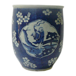Golden Lotus - Chinese Blue & White Scenery Porcelain Narrow Pot Planter - This is a hand made porcelain pot in narrow tall round shape with scenery blue & white color.