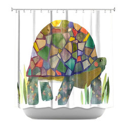DiaNoche Designs - Turtle Shower Curtain - Sewn reinforced holes for shower curtain rings. Shower curtain rings not included. Dye Sublimation printing adheres the ink to the material for long life and durability. Machine washable. Made in USA.