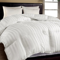 Hotel Grand Oversized 500 Thread Ct. Down-Alternative Comforter - Down alternative comforter Cotton cover 500 thread count Damask weave design Baffle box construction Silky double piping 1-inch gusset for maximum loft Extra-warm warmth rating Hypoallergenic Machine washable Twin: 68W x 88L in.; 55 oz. fill Full/Queen: 88W x 90L in.; 77 oz. fill King: 108W x 90L in.; 100 oz. fill