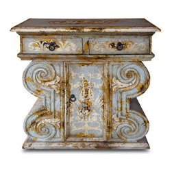 Koenig Collection - French Country Chest With Drawers, Celeste Distressed With Amaryllis - Chest with Drawers, Celeste Distressed, Amaryllis, and Scrolls