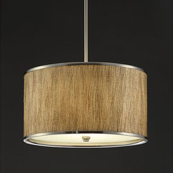 None - Natural Tan 16-inch Chandelier - Update any room with this elegant chandelier. Simple lines and a natural tan paper shade with metal trims and a glass diffuser define this functional chandelier. This product is 16 inches in diameter, 9.5 inches in height and uses two 100-watt bulbs.
