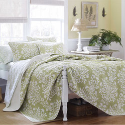Laura Ashley - Laura Ashley Rowland Sage 3-piece Quilt Set - This Laura Ashley three-piece cotton quilt set is made from 100 percent cotton for a soft,comfortable feel. The green-and-white floral pattern makes this reversible set have an extremely attractive appearance that complements the texture.