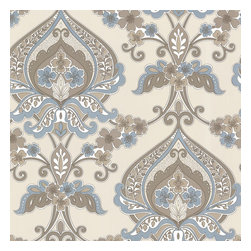 Ashbury Aqua Paisley Damask Wallpaper. - This retro-chic paisley wallpaper is swirled with a shimmering brass detail. A fusion of Persian and bohemian style in earth tones and aqua blue.