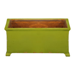 Antique Revival - Green Med. Size French Style Planter - This rectangular, wooden french planter is a functional accent piece. It works both indoors and outdoors and has four stub legs. Item is newly made from pine.