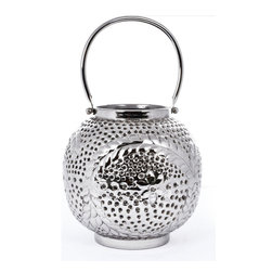 "Concepts Life - Concepts Life Candle Holder  Star Gazer Lantern  8"" - Dress up your windowsill with these silver Star Gazer Lanterns and add glamour and romance to your home. These lanters have ornate detailing and perforated patterns that will add a warm glow to your dinner table, whether inside our ouside.  Aluminum votive candle holder Lantern has floral design Handle for effortless transport Perforated detailing allows light to shine through Comes wrapped in gift-box Dimensions: 8""l x 8""d x 8""h Weight: 2"" lbs"