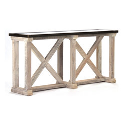 Kathy Kuo Home - Valerya Zinc Top Chunky Rustic Solid Wood Console Table - From its rustic whitewashed criss-crossing wooden beams to the vintage texture of its zinc tabletop, this console table's versatility is immediately obvious. Place this console against a wall in your modern home as a media center or even use it to divide and define spaces within your industrial loft.  Proudly made in the USA.