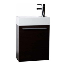 """CBI - 18"""" Bathroom Vanity Set  Espresso TN-T460-ESP - The combination of style and simplicity makes this vanity a real winner. With innovative design and economical in size it's ideal for a small bathroom. A space saver and money saver. Featuring genuine BLUM hinges, you'll never hear a door slam shut again."""