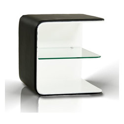 Spirit Night Stand - The Spirit night stand is great for small spaces!  The night stand is covered in a soft leatherette with silver accents and a clear glass shelf.  Comes as shown in black and white.  *Price is for one only.