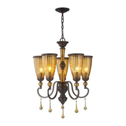 World Imports - World Imports Amber Marie 5-Light Chandelier with Tea Stained Glass Shades - World Imports 61023 Amber Marie 5-Light Chandelier with Crystal Adorned Tea Stained Glass Shades, Oil Rubbed Bronze