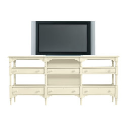 Stanley Furniture - Coastal Living Cottage Reunion LCD TV Stand - A unique piece to display your flat screen, this Reunion LCD TV Stand from Coastal Living Cottage adds its own style and charm to a room. There sample display space with two lengthy open shelves and three pull out shallow drawers running horizontally beneath each one. This cottage TV stand has carved legs have decorative molding on top and bottom corners. Middle section has a removable back panel to hide equipment cords and make everything look neat and tidy. Cord management openings, adjustable glides and an electrical outlet round out this package for the reunion tv console from the Coastal Living Cottage Collection. Since the width is more than six feet the size of your flat screen should not be a problem. Choose from thirteen sea-inspired finishes, painted and gently hand distressed After a long day it feels good to come home to this Reunion TV Stand with its laid back island feel. Dont worry, be happy.
