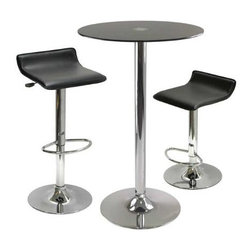 Winsome Wood - Rossi 3 Piece Pub Table with Round Black Glass Top - Our Rossi Round Pub Table comes in a set of 3, which includes 1 round black tempered glass top table in chrome finish leg and base and 2 air lift stools that are adjustable in height.