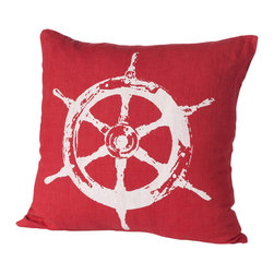 Cricket Radio - Montauk Wheel Pillow, Red/White - Style's ahoy when you add this jaunty pillow to your sofa, chair or bench. It's hand-printed using ecofriendly inks on Italian linen, comes in your choice of colors and features a removable down insert for easy cleaning. Steer your decorating in a nautical direction.