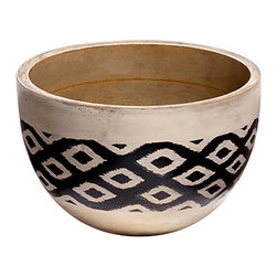 Mela Artisans - Dancing Waters Decorative Bowl, Small - Made from sustainable grown mango wood, the hand painted black design and whitewash base create a unique motif in these decorative bowls. With a traditional reva ikat design, the contrasting colors imitate the subtle waves of moving water in otherwise serene settings. The combination of muted wood and bold patterns make this bowl an ideal centerpiece for your living room or dining room table.