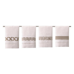 """DL Rhein - DL Rhein Taupe Guest Towel Set of 4 - Varied geometric patterns trim the chic DL Rein guest towel set. Finished with simple lace detailing, this contemporary accent lends a sophisticated vibe. 14""""W x 22""""H each; Set of 4; 100% cotton; Includes 1 of each design: lattice work, tiger, scales and chain link; Embroidered in taupe; Machine wash"""