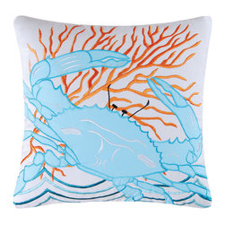 """C F Enterprises - Tropic Escape Blue Crab Pillow - This beautiful appliquéd and embroidered pillow is from the Tropic Escape quilt collection by C F Enterprises in blue and coral on white. It measures 18"""" x 18"""" with a knife edge."""