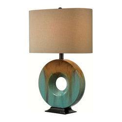 Kenroy Home - Kenroy Home 32184 Sesame Single Light 25-1/4 Inch Glazed Ceramic Table Lamp - Kenroy Home 32184 Sesame Single Light 25-1/4 Inch Glazed Ceramic Table LampWith its stunning glazed ceramic ring in an artful and earthy finish, this light will bring character to any space. It is designed with an oval shade to allow for closer wall placement if desired. Switch this lamp on using its three-way rotary switch to light up your space. Kenroy Home 32184 Features: