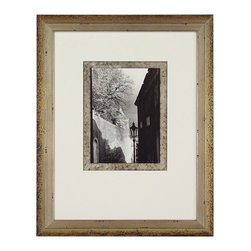 John Richard - John Richard The Streets of Prague IV GRF-5002D - Black and white street scene double matted silver accent over black on inside mat white weighted outside mat in a silver and mahogany wood frame.