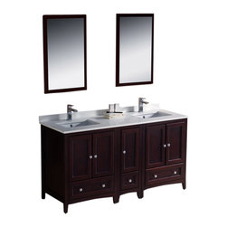 """Fresca - 60"""" Mahogany Double Sink Vanity w/ Side Cabin Cascata Brushed Nickel Faucet - Blending clean lines with classic wood, the Fresca Oxford Traditional Bathroom Vanity is a must-have for modern and traditional bathrooms alike.  The vanity frame itself features solid wood in a stunning mahogany finish that?s sure to stand out in any bathroom and match all interiors.   Available in many different finishes and configurations."""