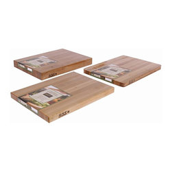 John Boos - Cutting Board w Hand Grips - Set of 3 (20 in. - Choose Size: 20 in. L x 15 in. W x 2.25 in. H (42 lbs.)Set of 3. Includes board cream with beeswax. Hand grips. Reversible. Edge grain construction. Warranty: One year against manufacturing defects. Made from cherry. Made in USA