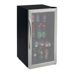 "Avanti - 3.1 Cubic-Foot Beverage Cooler Stainless Steel - Avanti 3.1 Cubic Foot Auto Defrost All Refrigerator/Beverage Center with Modern design that complements any decor, Stylish black cabinet with Stainless Steel framed double-paned tempered glass door, Stainless Steel handle, Full range temperature control, Reversible door, Interior light, Adjustable/Removable shelves, 17""W x 33""H x 20.5""D (w/. handle), 55 lbs."