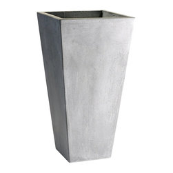 """Cyan Design - Cyan Design Large Clay Planter X-21440 - This Cyan Design clay planter features a tall, tapered body. Starting at the base with a small square, gentle tapering opens upward, creating visual interest. This clay planter features a large 30"""" height and classic gray finish that plays off its versatility."""