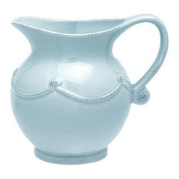 """Juliska - Juliska Berry and Thread Small Pitcher Blue - Juliska Berry and Thread Sm. Pitcher Blue. With a curvaceous silhouette and rustic charm this small ice blue pitcher is country chic. Fill it with cream, fresh juice, or handfuls of tea roses. Dimensions: 7"""" H Capacity: 1.5 Qt"""