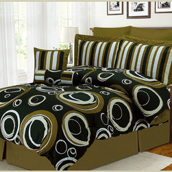 None - Torino Eight-Piece Polyester Comforter Set - Update your bedroom decor with this elegant and luxurious Torino bedding set. This comforter set features a modern swirl pattern against a solid background.