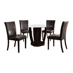 "Acme - 5-Piece Bethany Collection Leather-Like Upholstered Chairs - 5-Piece Bethany collection leather like upholstered chairs and espresso finish wood small dining table set with glass top. This set includes the Dining Table and 4 - side chairs in a leather like upholstery. Table measures 48"" Dia. Chairs measure 38"" H to the back. Some assembly required."