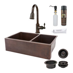 "Premier Copper Products - 33"" Kitchen Apron 60/40 Sink w/ ORB Faucet - PACKAGE INCLUDES:"