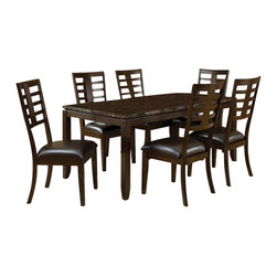Standard Furniture - Bella 7 Pc Dining Set in Walnut & Faux Marble Finish - Set includes table and 6 side chairs. French dovetail. Top drawers are lined with Brown felt. Faux marble travertine color tops. Counter height table will comfortably seat 4. Server has two drawers and doors and a removable wine rack. Surfaces clean easily with a soft cloth. Quality veneers over wood products and select solids used throughout. May contain some plastic parts. Seat cushions are PU Brown color. Walnut finish. Table: 70 in. L x 38 in. W x 30 in. H (90.7 lbs.). Chair height: 42 in.. Chair weight: 22 lbs.The sleek contemporary lines of Bella will enhance any modern living environment.