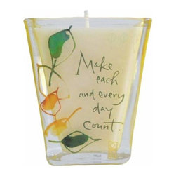 "WL - 3.25 Inch ""Make Each and Every Day Count"" Votive Candle Collectible - glass candle holder, glass votive, painted glass, leaf detail, inspirational quote, tealight"