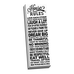 """Picture it on Canvas - In this House, Typography Art, Inspirational Art, 12""""x 36""""x 1.5"""", Housewhite - Family-themed inspirational text set against a colorful background lends each canvas a warm, humorous tone."""