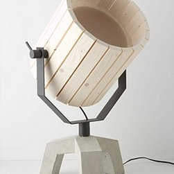 "Anthropologie - Barrel Lamp - By Nieuwe Heren for New DuivendrechtSome assembly requiredWood, steel, concrete25 watt max40"" cord12.5""H, 12.5""W, 26""DHandmade in Netherlands"