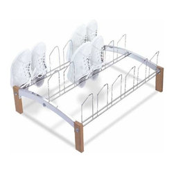 Organize It All - Shoe Rack, 9 Pair Storage - Our Concord nine pair shoe rack is a simple, small sized shoe rack that serves its basic shoe storage need. Offered in an natural wood and chrome finish this shoe rack can help organize a messy pile of shoes into a nicely organized pile. This rack fits nicely into any room of the house or closet. It can hold up to nine pairs of shoes.