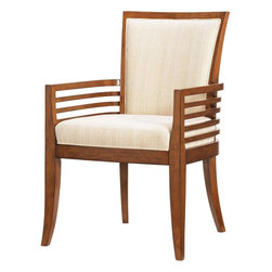 Lexington - Tommy Bahama Home Ocean Club Kowloon Arm Chair - Standard upholstery for seat and back is woven taupe and cream fabric. Other fabric options are available, see store for details.