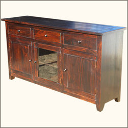 Rustic Glass Door Buffet 3 Drawer Storage Sideboard Cabinet - Simple charm and easy style ...