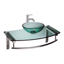 "Renovators Supply - Wall Mount Sinks Green Glass Wall Mount Sink  27 3/4"" - Glass Sinks: This wall mount tempered glass vessel sink does NOT comes complete with faucet and p-trap. Support is made of rust-resistant stainless steel and comes with an aluminum alloy under mount bracket with towel bar. 27 3/4"" wide"