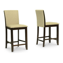 """Wholesale Interiors - Everdon Dark Brown Modern Pub Chairs, Set of 2 - Give your dining space unmatched polish: the Everdon Designer Pub Chair is packed with contemporary style. The Everdon Counter Stool is crafted with a solid rubber wood frame, polyurethane foam, and brown twill fabric seat. The Everdon Modern Pub Stool is made in Malaysia. To clean, wipe the wooden surfaces with a dry cloth and spot clean the cushions. The Everdon Collection also includes a matching coffee table, end table, sofa table, and pub table set (each sold separately). Chair dimension: 18.5""""W x 23""""D x 39.375""""H , seat dimension: 18.5""""W x 16""""D x 25""""H."""