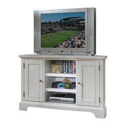 Home Styles - Home Styles Naples Corner TV Stand in White - Home Styles - TV Stands - 553007 - The Naples Corner Entertainment TV Stand has solid hardwood and engineered wood construction in a rich white finish. It features a great space - saving corner design two side doors and a center open compartment with adjustable shelves for ample storage. With easy assembly the fashionable and functional Naples Corner Entertainment TV Stand is sure to fit comfortably in your living room or entertainment area.