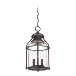 "Lamps Plus - Contemporary Industrial 16 1/4"" High Bronze Outdoor Hanging Light - This industrial style bronze outdoor hanging light is inspired by old-fashioned outdoor lantern designs. The bronze finish frame and chain are slightly distressed for a handsome antique look. Clear seedy glass adds to the vintage look of this warm outdoor design. Bronze outdoor hanging light. Clear seedy glass. Takes two 60 watt candelabra bulbs (not included). 16 1/4"" high. 8 1/2"" wide. Includes 6-feet of chain. Canopy is 5"" wide.  Bronze outdoor hanging light.  Clear seedy glass.  Takes two 60 watt candelabra bulbs (not included).  16 1/4"" high.  8 1/2"" wide.  Includes 6-feet of chain.  Canopy is 5"" wide."