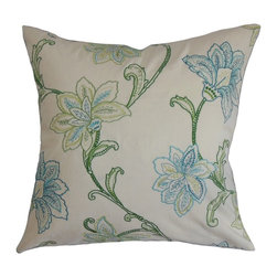 """The Pillow Collection - Eimear Floral Pillow Jade 20"""" x 20"""" - Make your room a perfect place for relaxation by adding this elegant decor pillow. This square pillow features a classic floral pattern with green and blue hues. Ideal for styling your bedroom, living room and guestroom, this accent pillow offers a homey vibe. Pair this 20"""" pillow with solids and other patterns from our wide selection of throw pillows. Made from 100% high-quality polyester material. Hidden zipper closure for easy cover removal.  Knife edge finish on all four sides.  Reversible pillow with the same fabric on the back side.  Spot cleaning suggested."""