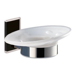 Gedy - Wall Mounted Round Frosted Glass Soap Dish With Black Mounting - Stylish wall mounted oval shaped frosted glass and brass soap holder with black thermoplastic resins mounting.