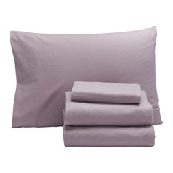 Coyuchi - Coyuchi Organic Cloud Brushed Flannel Sheet Set, Palest Orchid, Queen - Thick cotton flannel, brushed to an incredibly soft hand, makes these weighty six-ounce sheets luxuriously comfy and warm.