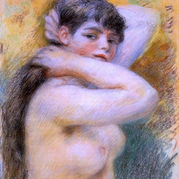 """Pierre Auguste Renoir Young Woman at Her Toilette   Print - 16"""" x 20"""" Pierre Auguste Renoir Young Woman at Her Toilette premium archival print reproduced to meet museum quality standards. Our museum quality archival prints are produced using high-precision print technology for a more accurate reproduction printed on high quality, heavyweight matte presentation paper with fade-resistant, archival inks. Our progressive business model allows us to offer works of art to you at the best wholesale pricing, significantly less than art gallery prices, affordable to all. This line of artwork is produced with extra white border space (if you choose to have it framed, for your framer to work with to frame properly or utilize a larger mat and/or frame).  We present a comprehensive collection of exceptional art reproductions byPierre Auguste Renoir."""